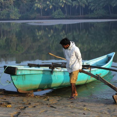 Boot mit ausleger